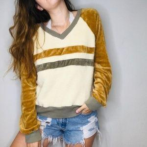 Vintage retro mustard velour pullover sweatshirt